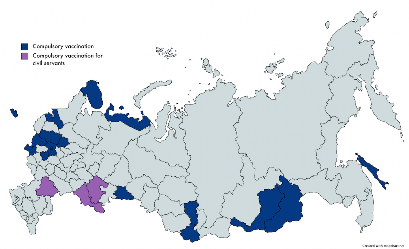 Several Russian regions have followed Moscow's lead and introduced mandatory vaccination programs. MT
