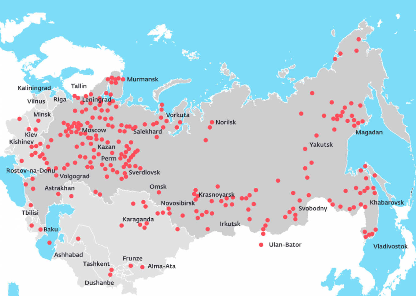 A map of forced labor camps (or gulags) under Stalin				 				Memorial (memo.ru)