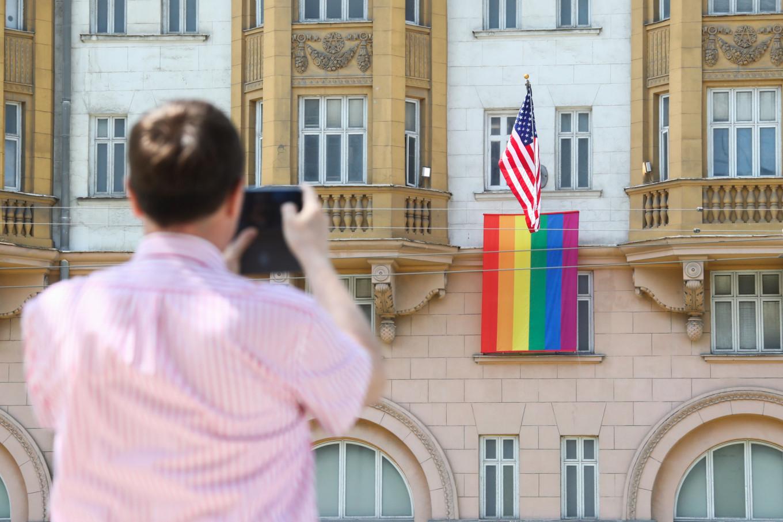 Putin Mocks U.S. Embassy Rainbow Flag
