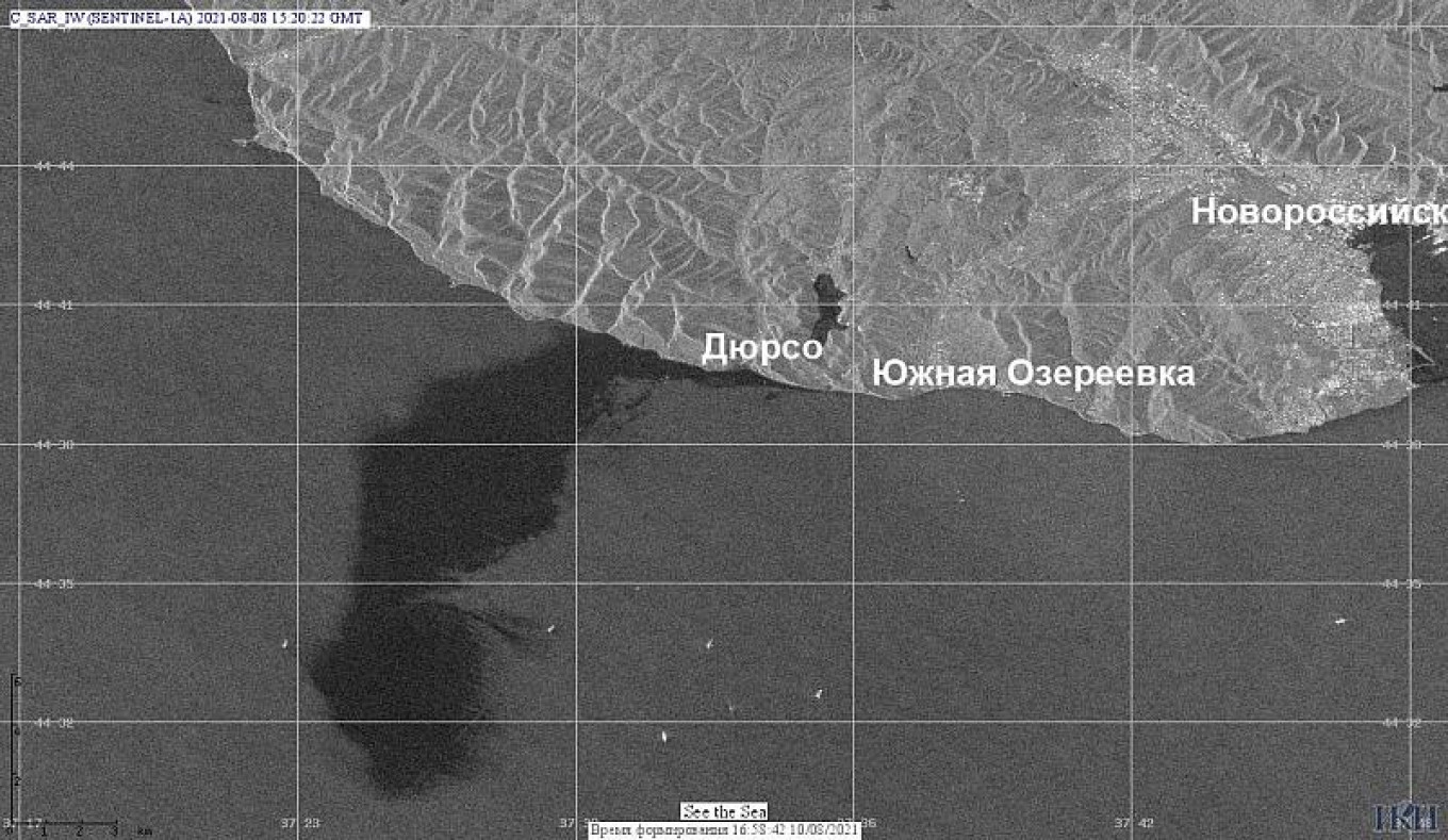 A satellite image of the oil spill taken Sunday showed its size at nearly 80 square kilometers. iki.cosmos.ru