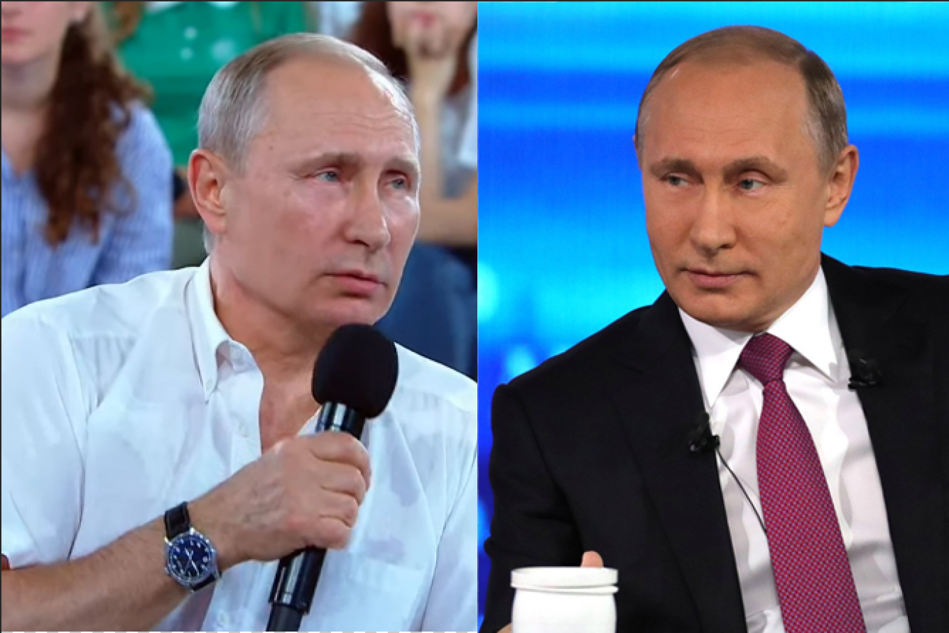 "Putin during Friday's broadcast compared to the ""adult"" Direct Line last month."