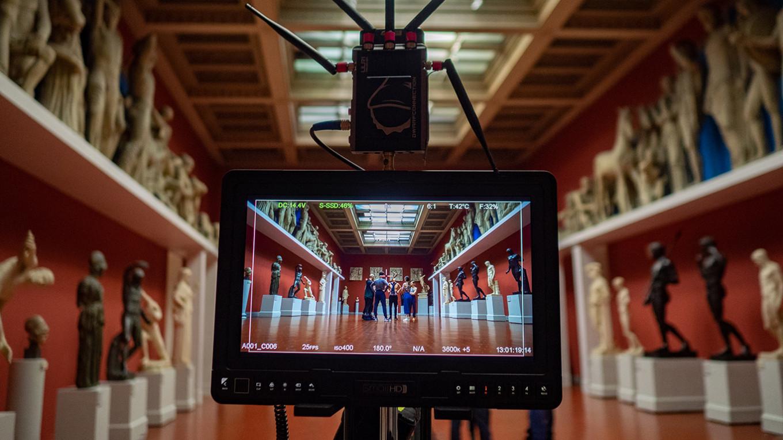 Filming in the Ancient Greece hall. Pyotr Silvestrov