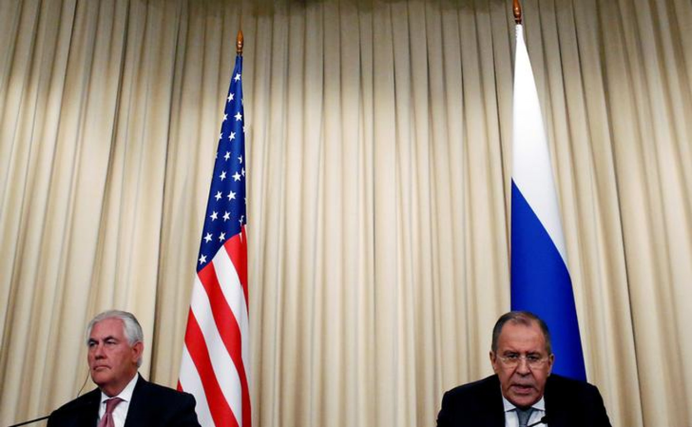 Russian Foreign Minister Sergei Lavrov (R) and U.S. Secretary of State Rex Tillerson attend a news conference in Moscow, Russia, April 12, 2017. Sergei Karpukhin / Reuters