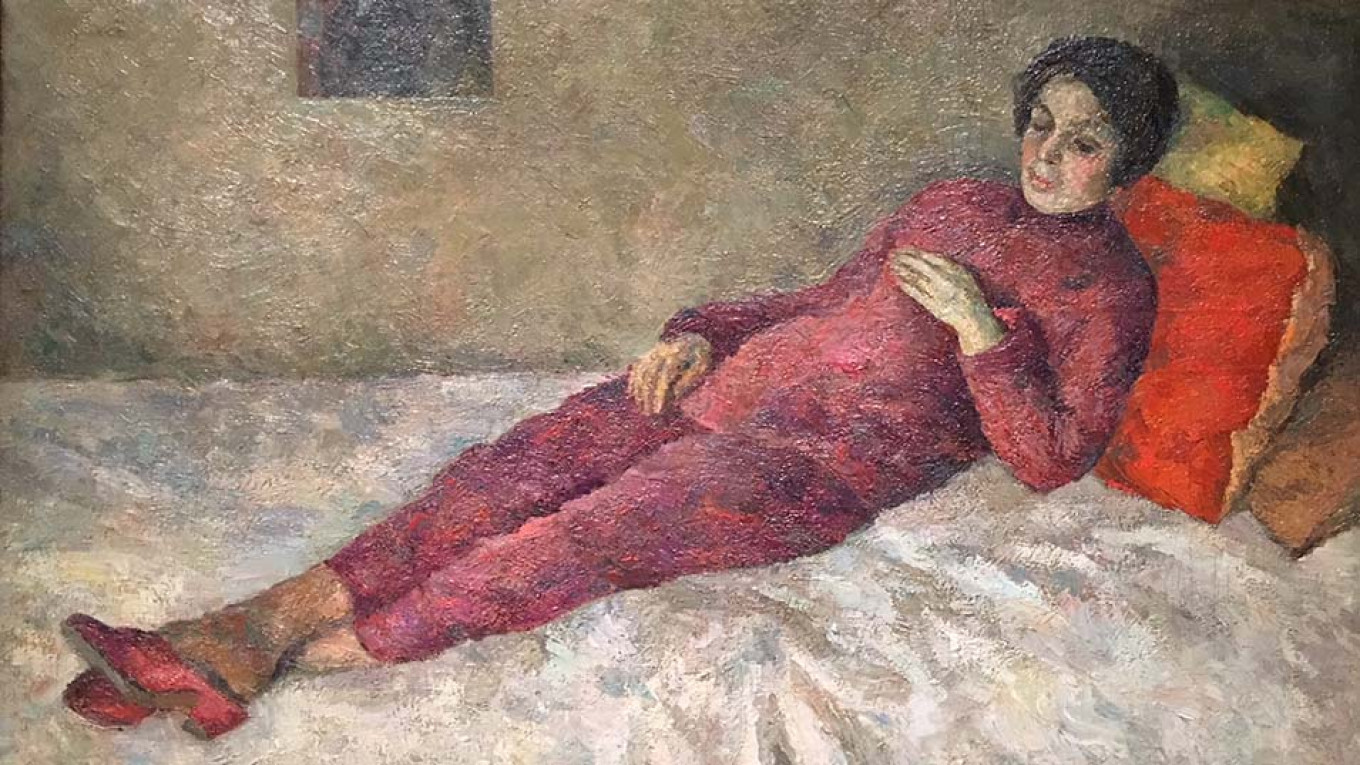 """""""Woman Lying on a Couch Under a Portrait of Cezanne"""" by Robert Falk, 1929  Courtesy of the Museum of Russian Impressionism"""