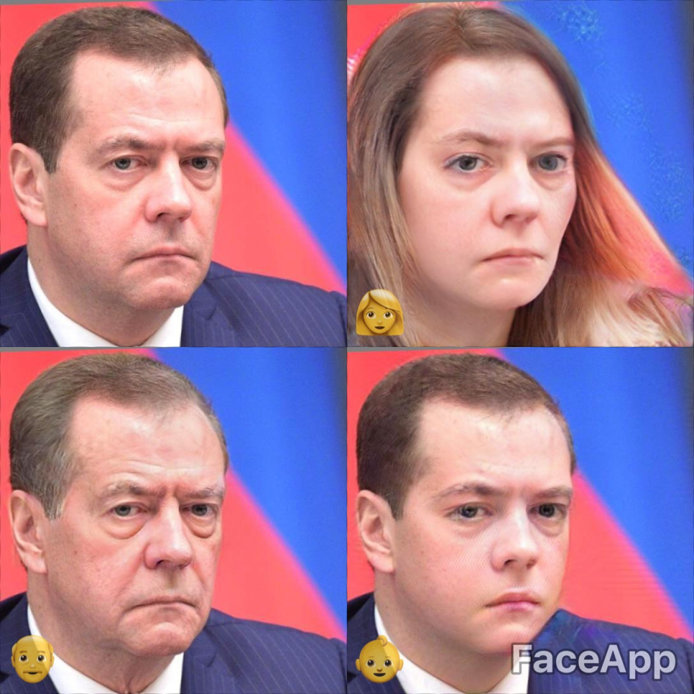 He's easy to forget, but remember with me Dmitry Medvedev, Russia's erstwhile president and current prime minister. As a lady, an old man, and a baby.				 				Kremlin Press Service