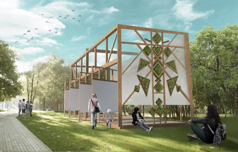 An architectural interpretation based on the pattern of an Udmurt apron.  Ornamika / mosaika.io