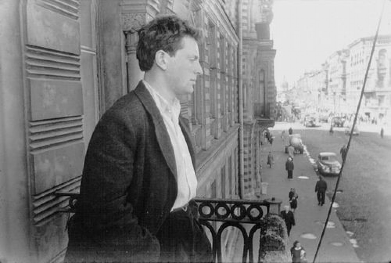 Brodsky on the balcony of the apartment, 1963, photographed by his father,  Alexander Brodsky.  Courtesy of the Anna Akhmatova Museum at the Fountain House
