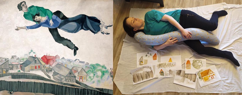 "Russian Facebook project ART-ISOLATION. ""Over the Town,"" Marc Chagall, 1913. Vera Savitskova / Facebook"