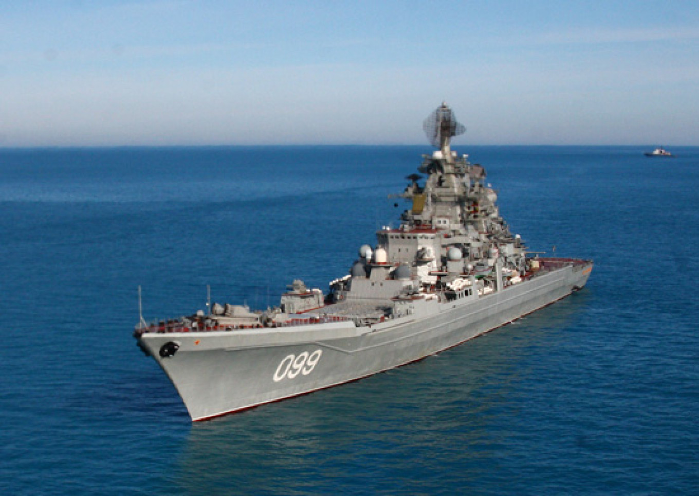 The Russian battlecruiser Peter the Great, the world's most powerful ship. It is deploying to Syria alongside Kuznetsov.				 				Defense Ministry
