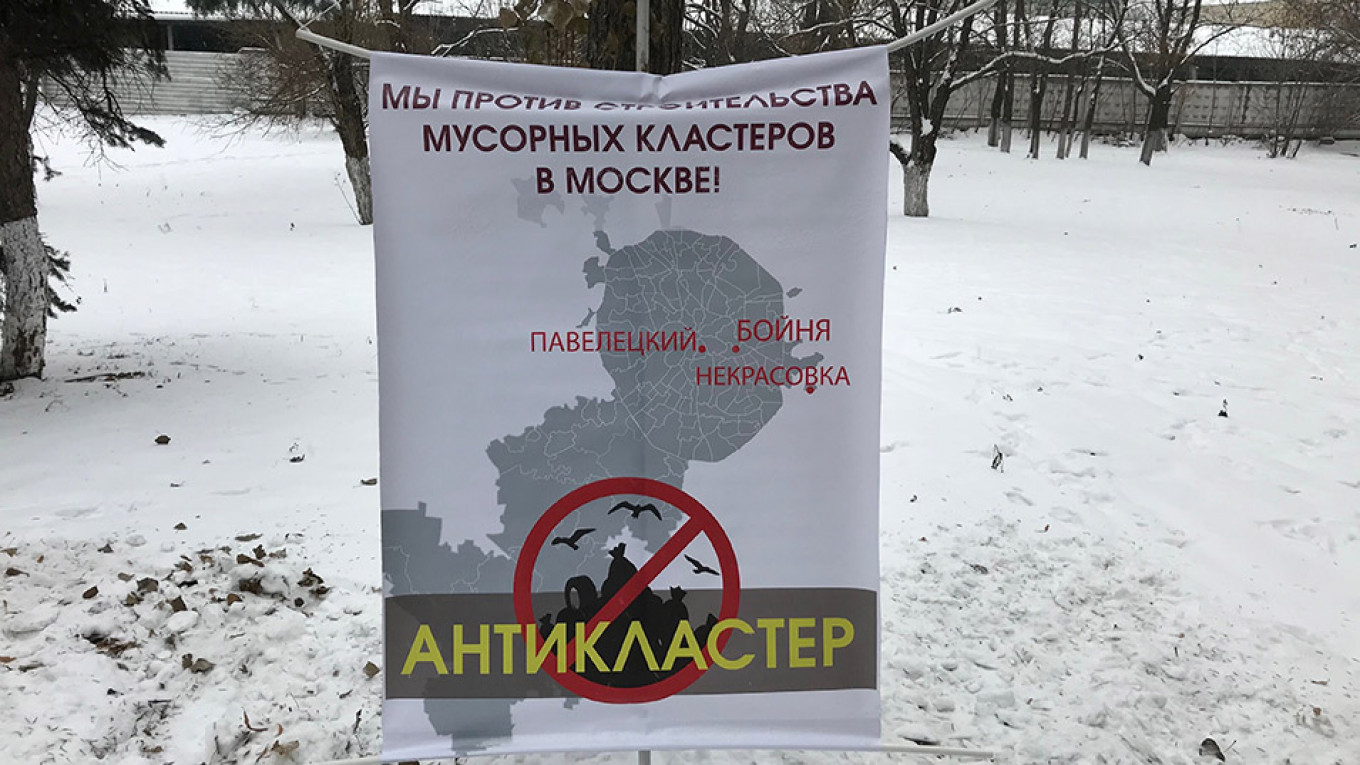 During the demonstration outside of Moscow, protestors spoke out against plans to pack trash at ecoclusters and send it to other parts of Russia.  Evan Gershkovich
