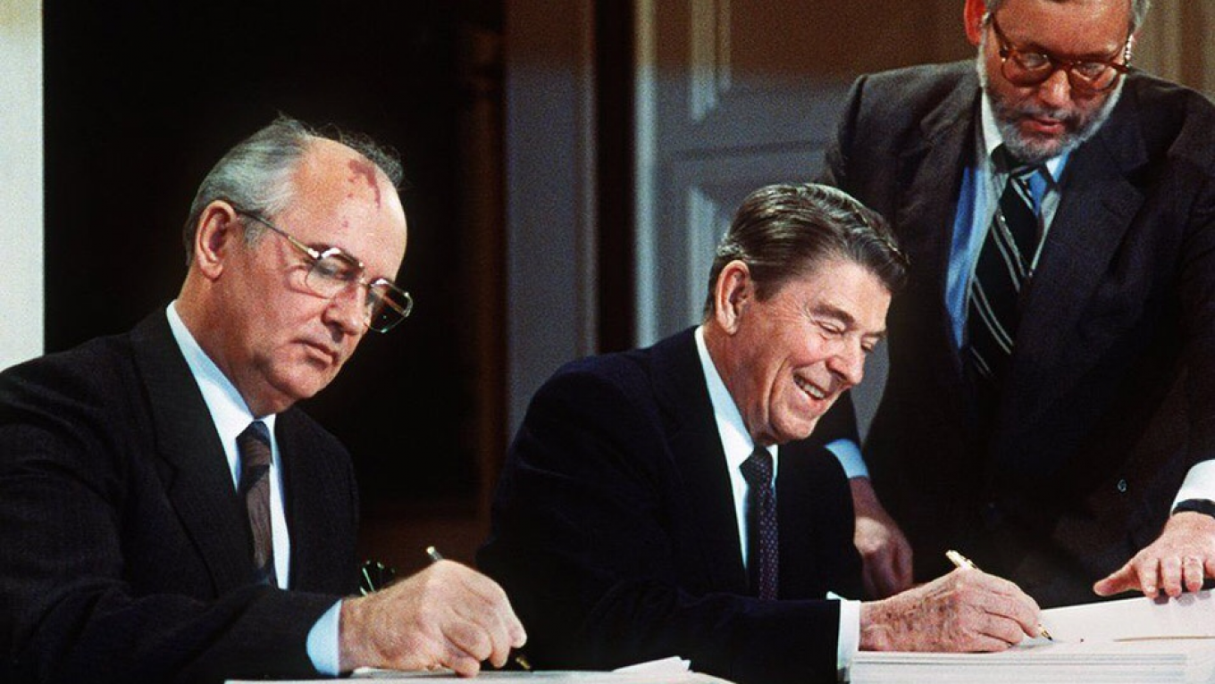 President Reagan and General Secretary Gorbachev signing the INF Treaty in the East Room of the White House				 				Wikicommons