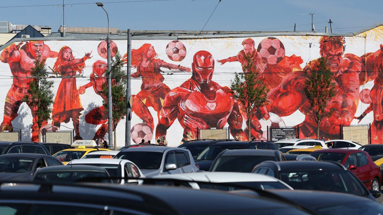Martin Ron's mural of footballing superheroes. Andrei Nikerichev / Moskva News Agency