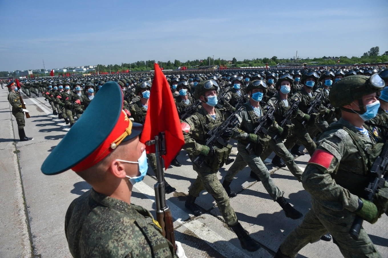 """One cadet told The Moscow Times that, by going through with the parade, """"we can prove to other countries that we have the strongest and most mobilized army in the world.""""  Defense Ministry"""