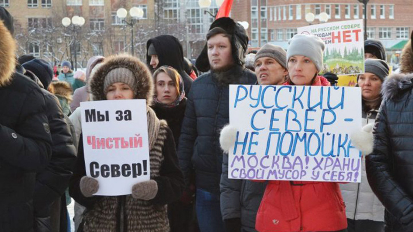 Protestors in Arkhangelsk gather to protest Moscow's plans to send 500,000 tons of waste their annually. 				 				Vkontakte / komirespublika
