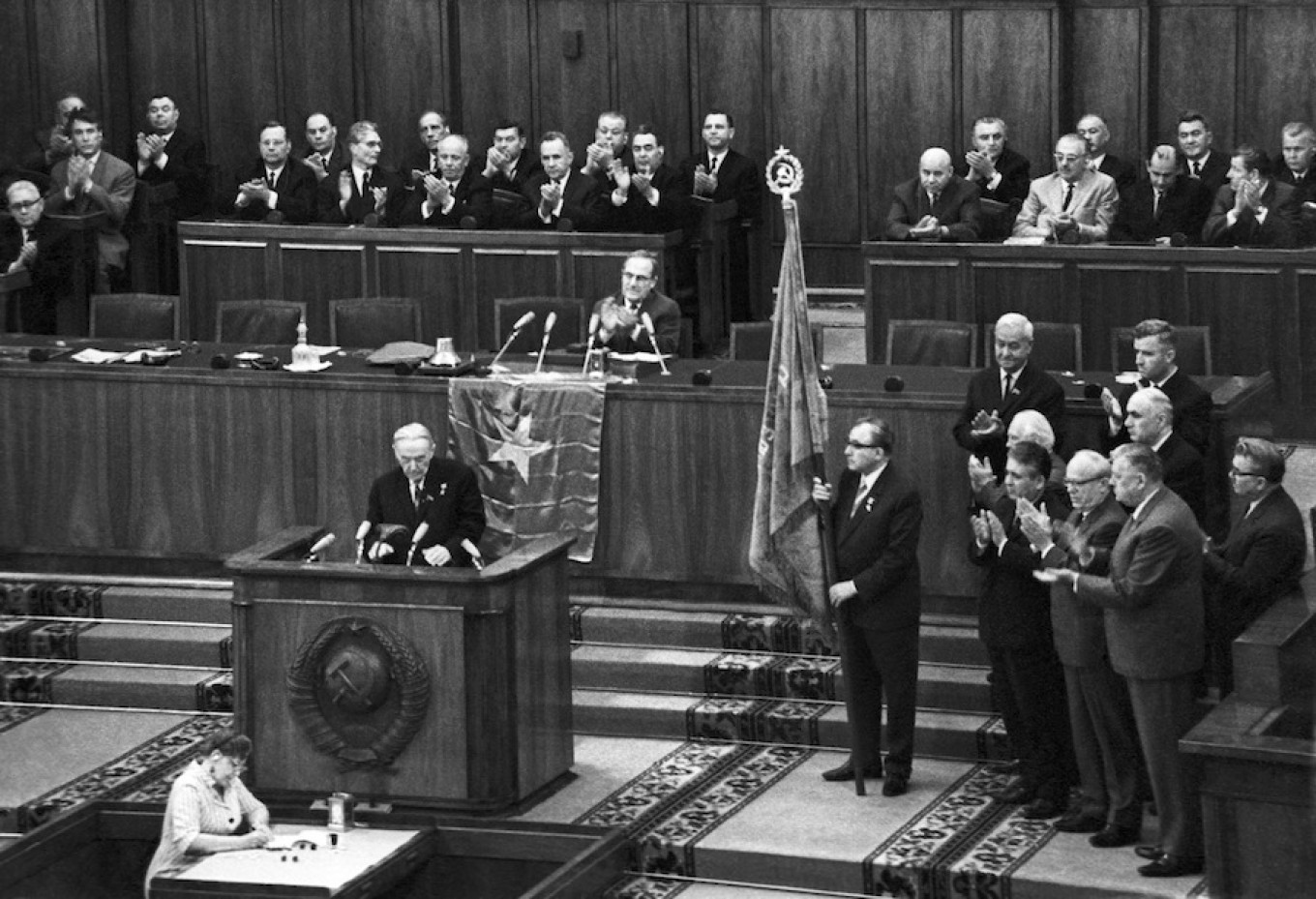 First secretary of the Soviet Writers Union Konstantin Fedin makes a speech at the fourth Congress of Soviet Writers in Moscow, May 26, 1967. TASS