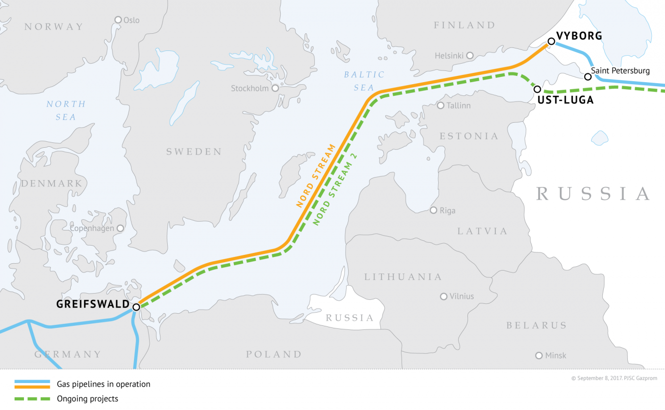 Nord Stream 2 runs parallel to the existing Nord Stream under the Baltic Sea, through Russia, Finnish, Swedish, Danish and German waters.				 				Gazprom