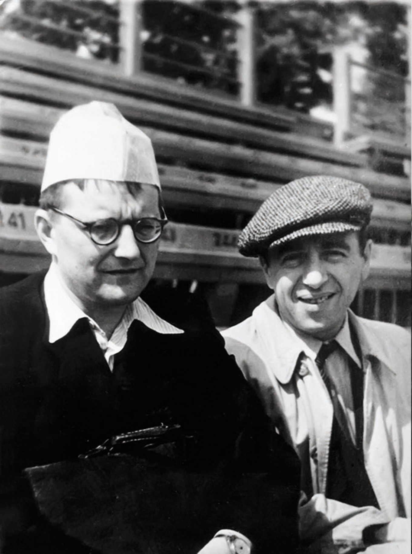 Shostakovich and Matvei  Blanter at the old Moscow Dinamo Stadium, July 1947 Courtesy of DSCH Publishers