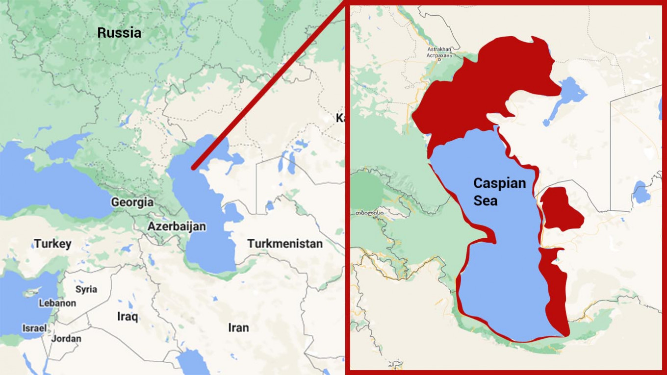 Areas in red are projected, under worse-case scenarios, to dry up by the end of the century. Google Maps / MT