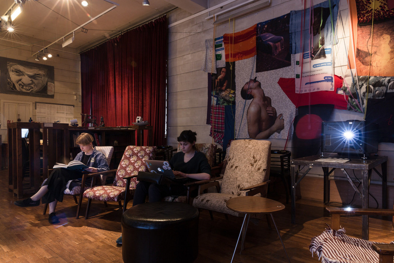 Visitors are ushered into a cozy, bohemian cinema for the event's grand finale.  Evgeny Alekseev / Tretyakov Gallery