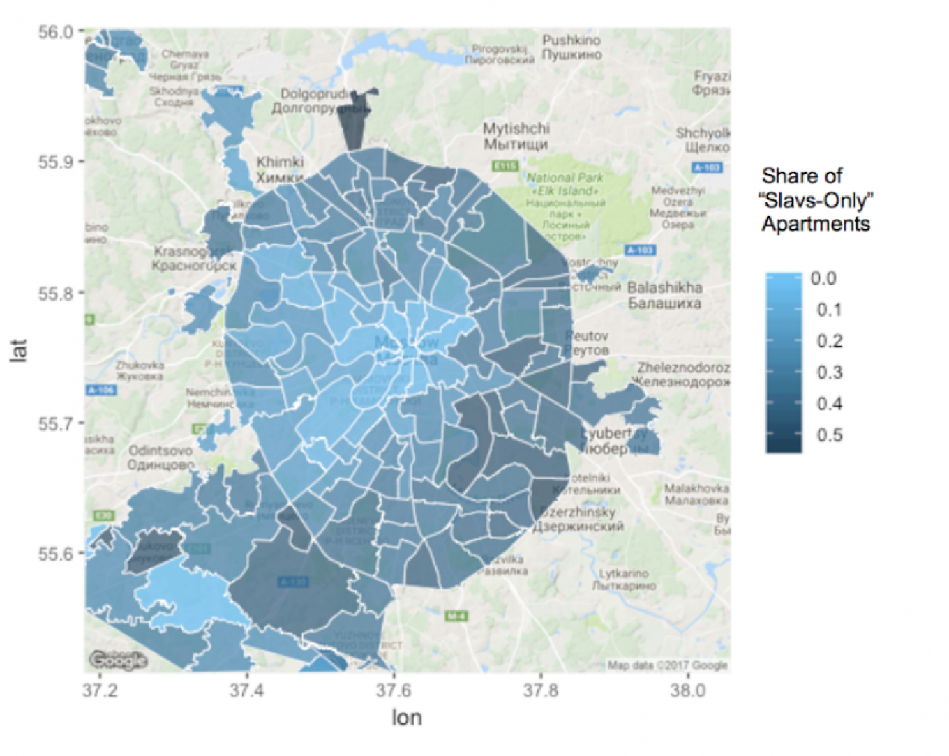 The percentage of apartment listings which specify the race of potential tenants, divided by neighborhood. Robustory