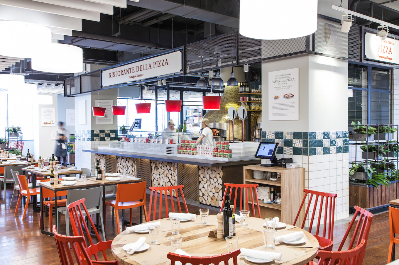 Visitors who have worked up a hunger can enjoy freshly-made food at Eataly's in-house restaurants. EATALY
