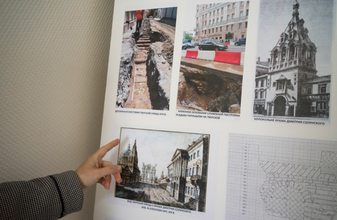 A collage demonstrating how the excavation works took place and what Moscow's streets looked like in another era. 				 				Albina Shaimuratova