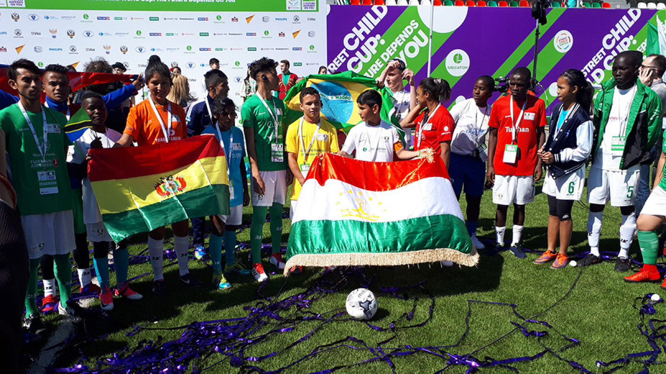 Team captains at the opening ceremony of the Street Child World Cup Lena Smirnova