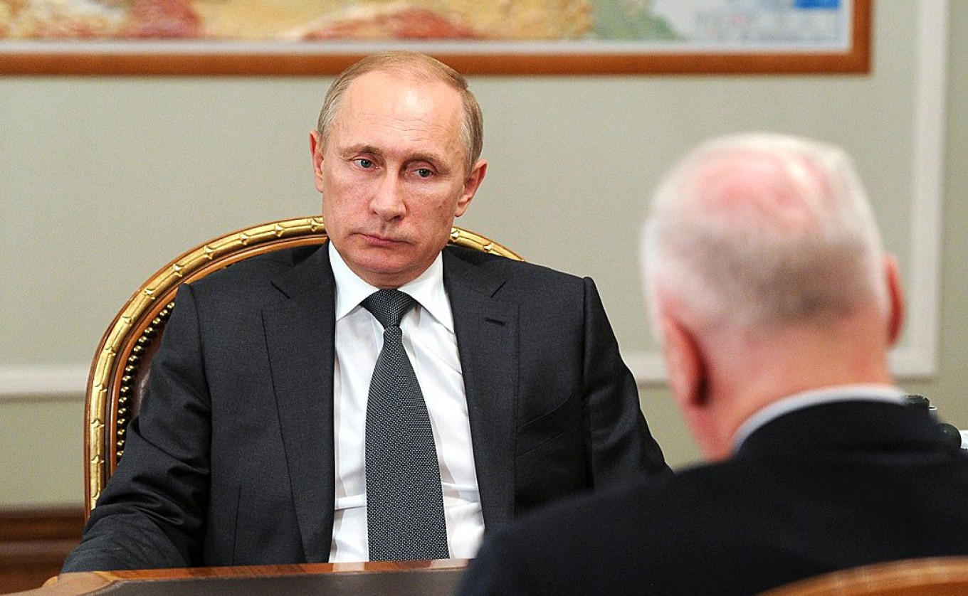 Vladimir Putin meets with Bastrykin in February 2015.				 				Kremlin Press Service