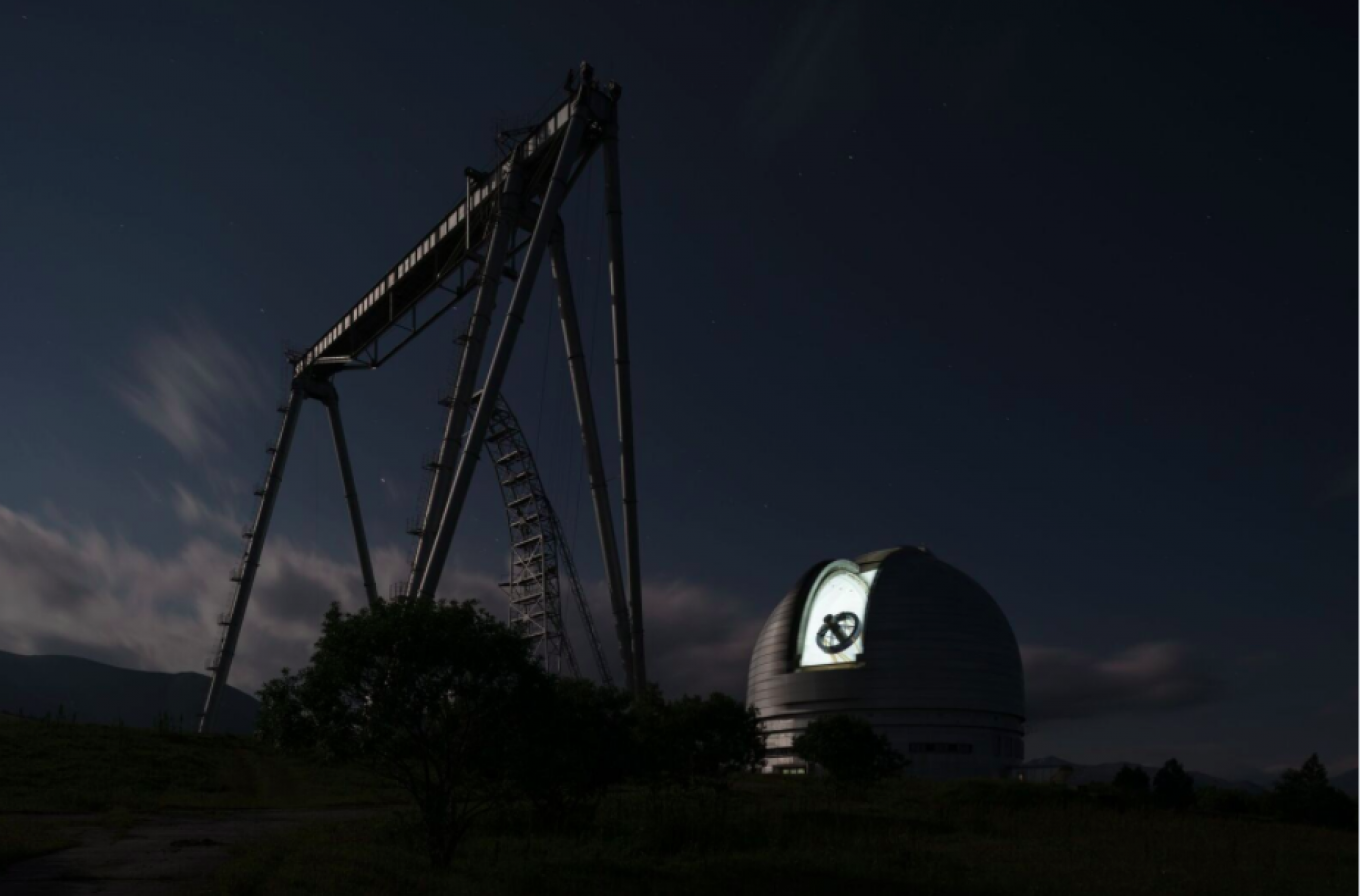 The observatory at night, with the telescope clearly visible. Yury Palmin