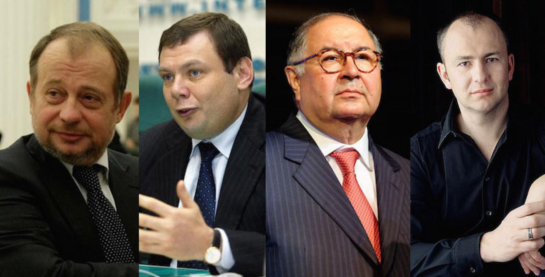 (L-R) Vladimir Lisin, Mikhail Fridman, Alisher Usmanov, Andrei Melnichenko