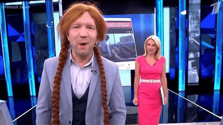 A host mocked transgender people. Video screen grab. Channel One
