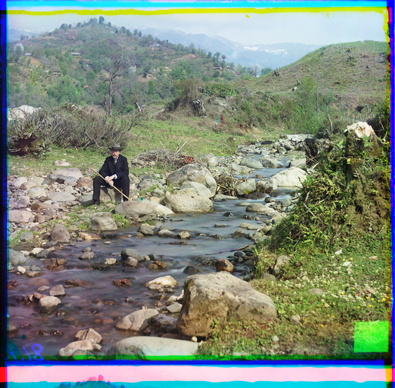 Sergey Prokudin-Gorsky by Skuritskhali River near Batumi, taken in March 1912 by one of his assistants. 21468