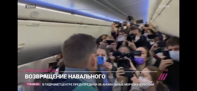 Alexei Navalny on the Pobeda flight to Berlin  Dozdh TV