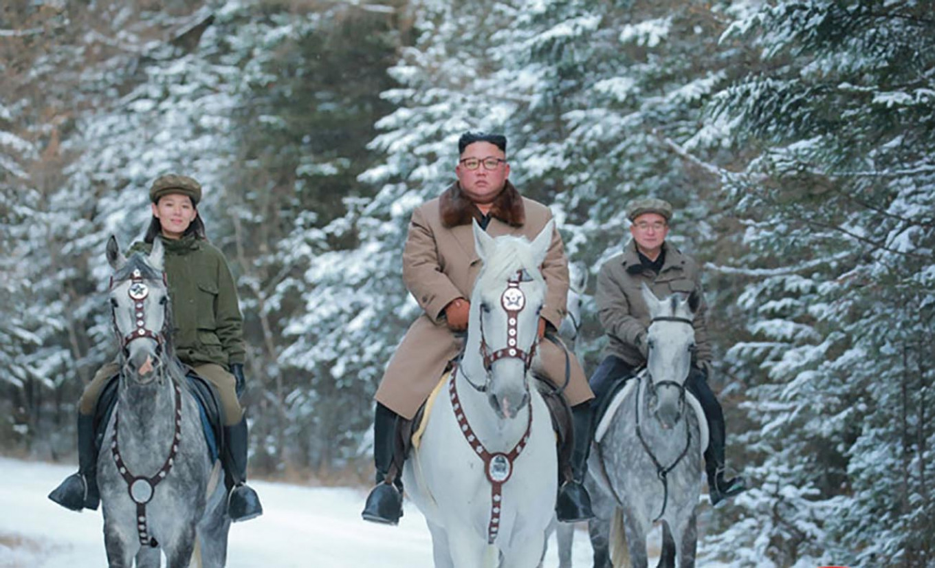 Last year, Kim's Russian horses received worldwide attention when he twice rode a white stallion up the country's sacred Mount Paektu, a move experts said was steeped in symbolism.  Korean Central News Agency / Zuma / TASS
