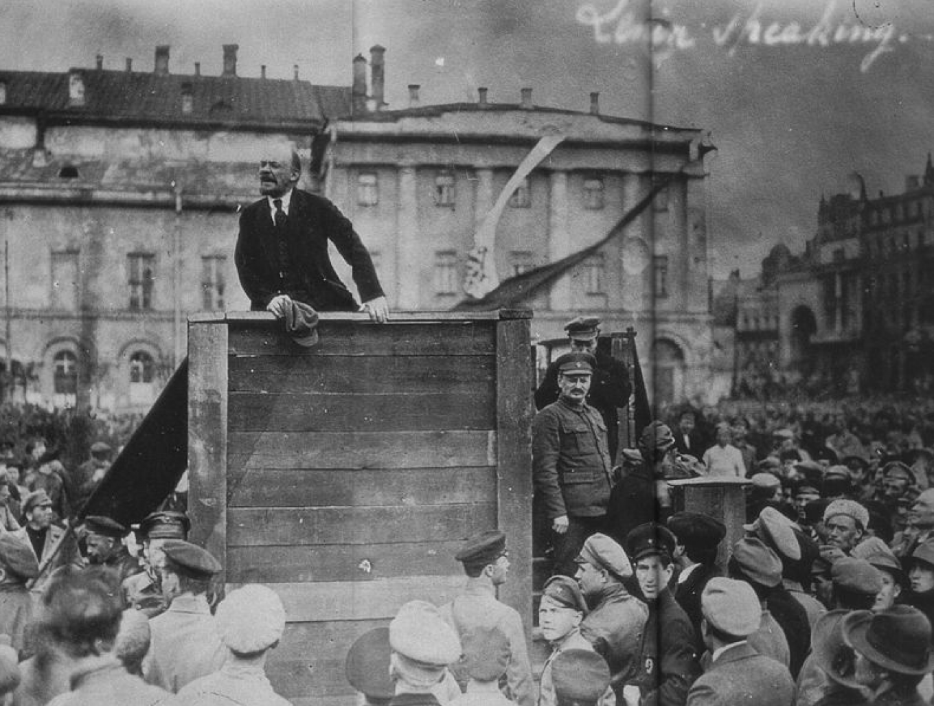Lenin shortly after his arrival in Petrograd Wikicommons