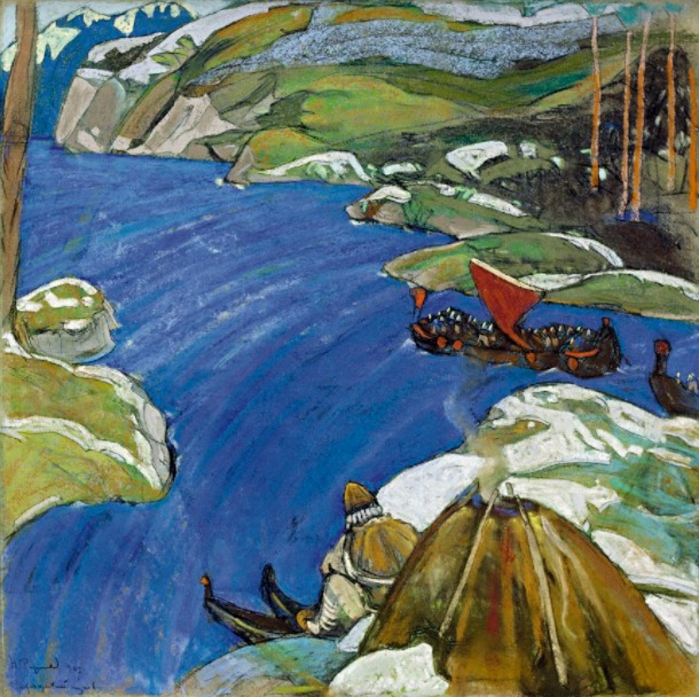 """""""Varangian Way"""" by Nikolai Roerich (1907) from the collection of Sigismund Valk, now in KGallery Museum of Russian Impressionism"""