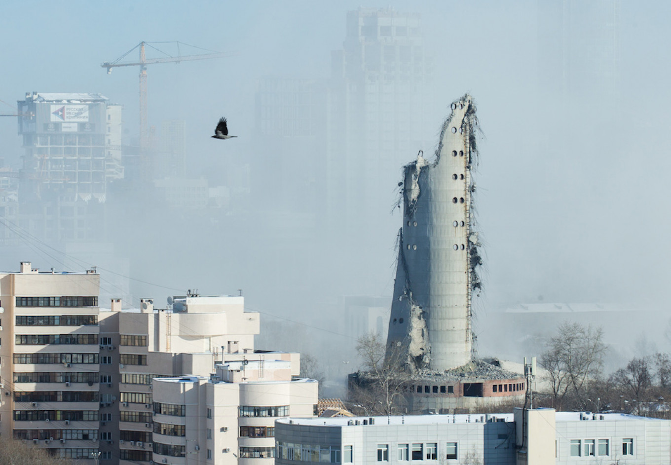 The unfinished and abandoned tower shortly after the demolition. Alexei Kolchin / Reuters