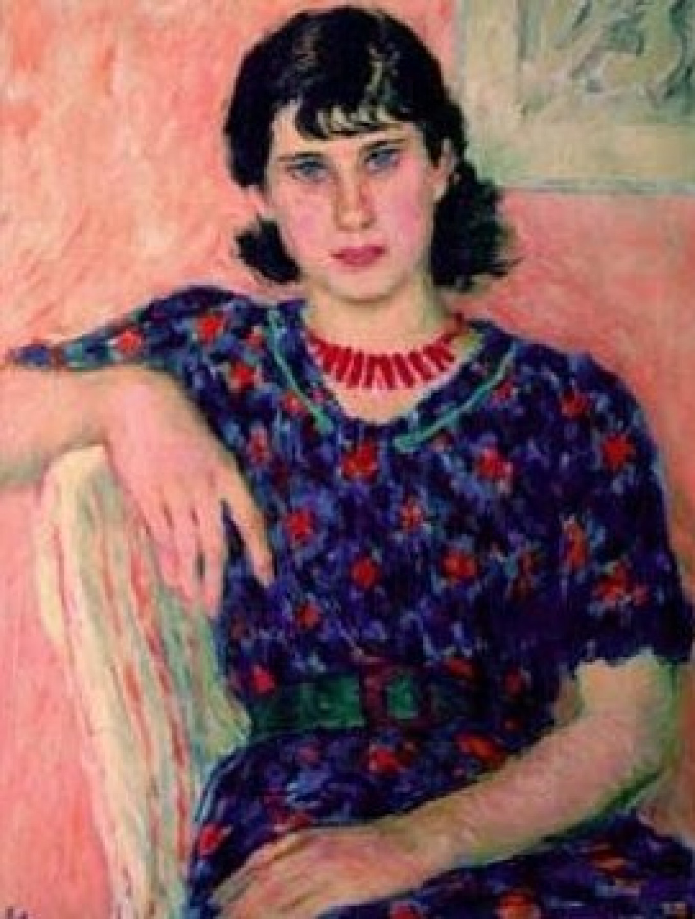 """""""Portrait of a Girl with Bangs,"""" by Vladimir Lebedev (1938) from the collection of Igor Afanasyev Museum of Russian Impressionism"""