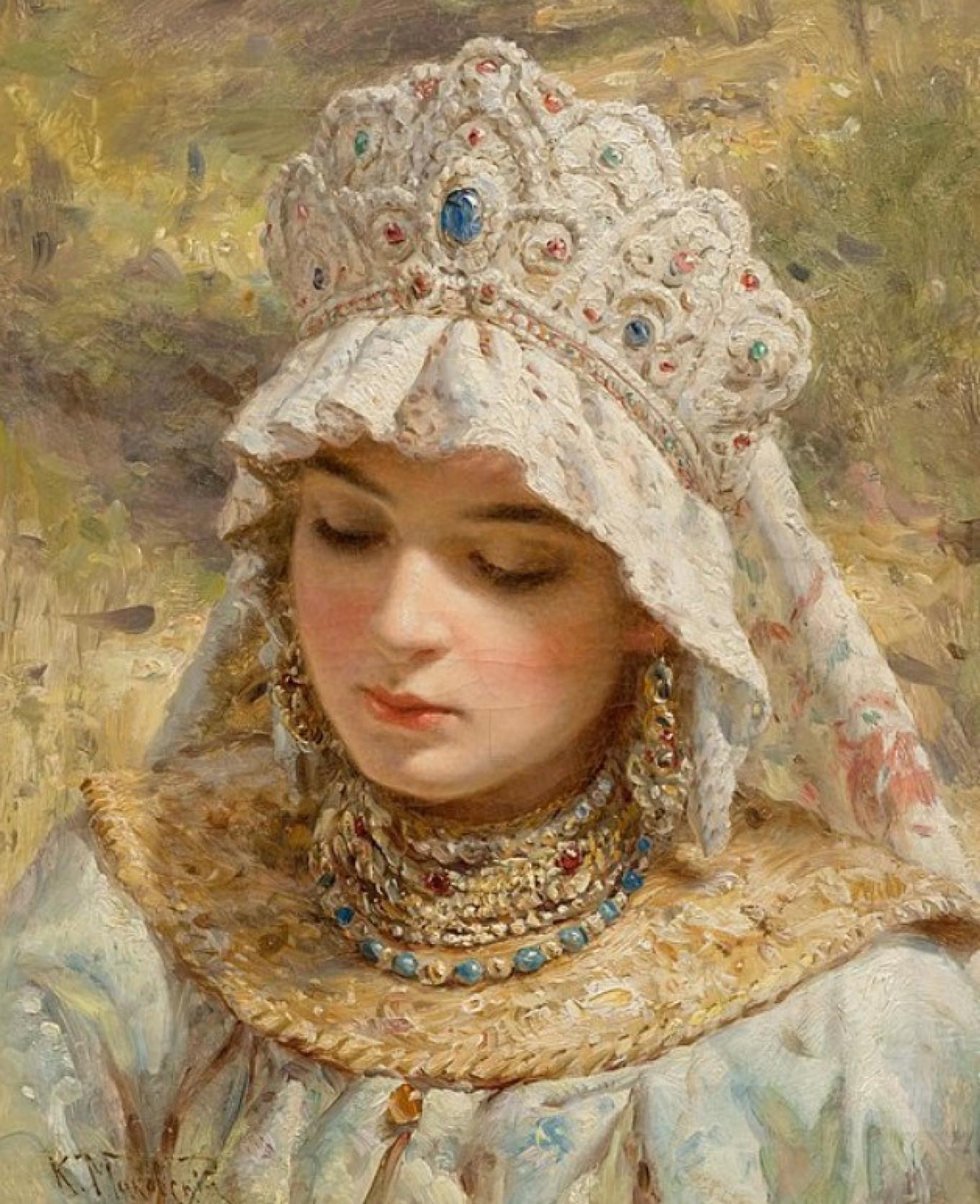 """""""Woman in a kokoshnik"""" by Konstantin Makovsky wikicommons"""
