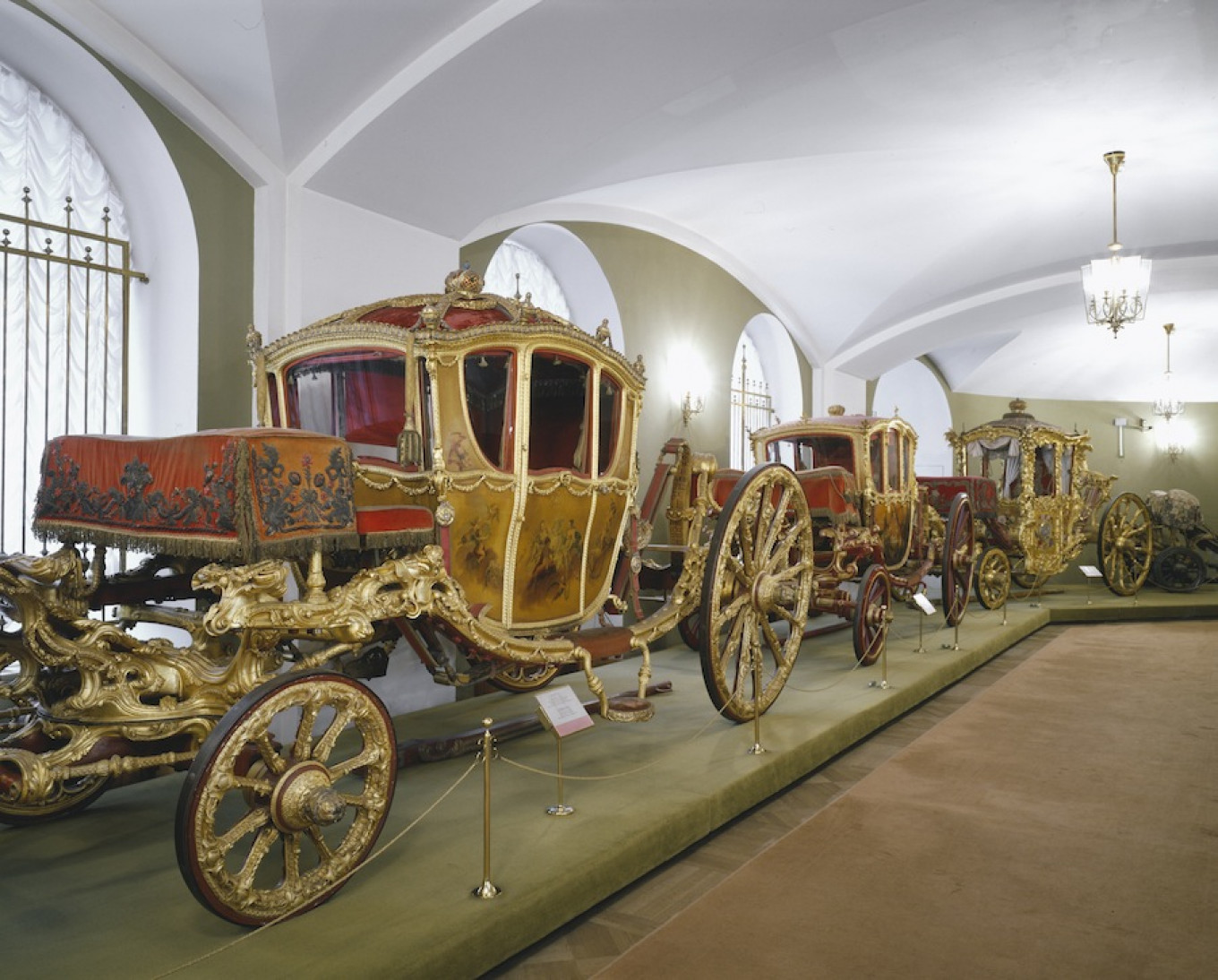 An exhibit from Catherine the Great's private collection of carriages presented to her from European leaders around the world. 				 				Kremlin Museum