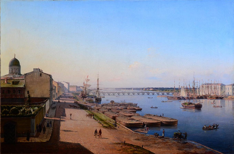 """""""View of the Tuchkov bridge"""", 1844 Public Domain"""