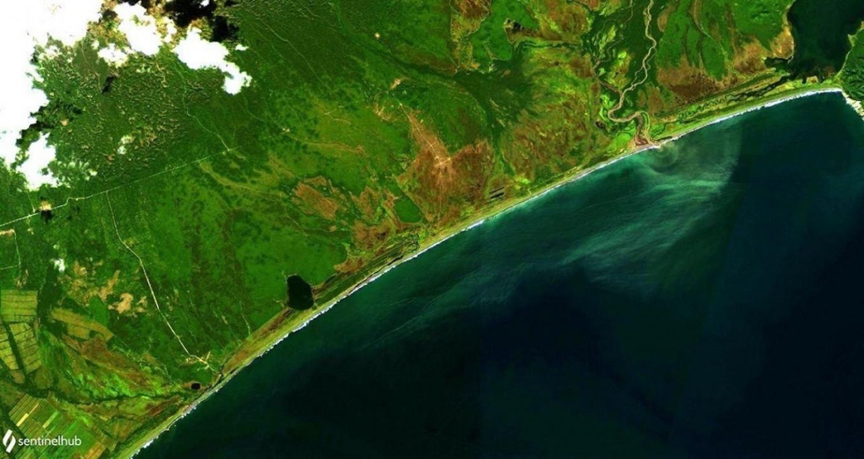 A satellite image showing the Kamchatka coastline on Sept. 9 zelenyikot / livejournal / Sentinel Hub / Greenpeace