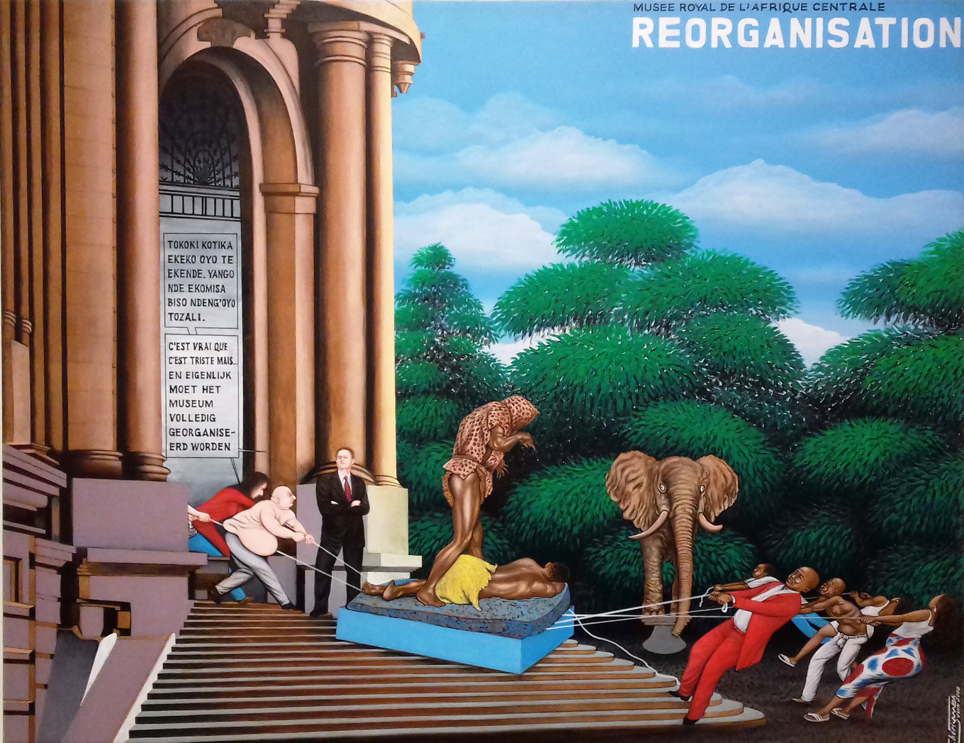 'Reorganisation' depicts the struggle for control over the representation of Congolese culture at the Royal Museum for Central Africa in Belgium.				 				ROYAL MUSEUM FOR CENTRAL AFRICA, TERVUREN