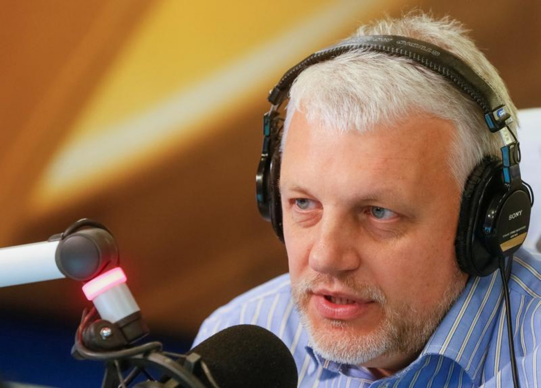 Journalist Pavel Sheremet talks on the air at a radio station in Kiev, Ukraine, Oct. 11, 2015.  Valentyn Ogirenko / Reuters