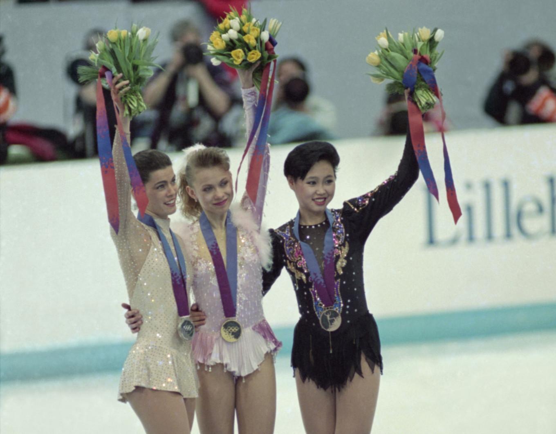 From left to right: Nancy Kerrigan, Oksana Baiul, and Lu Chen, 1994 S. Chistyakov / TASS