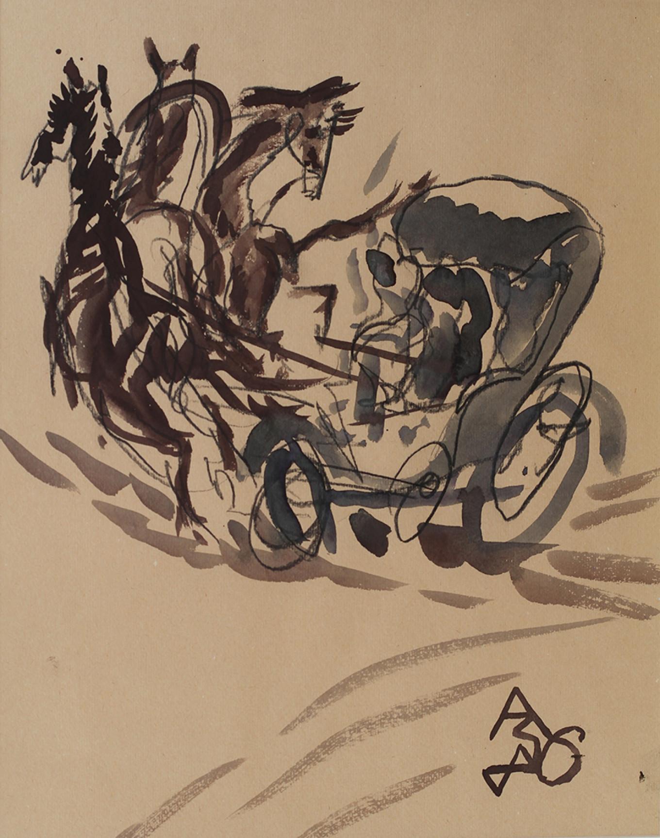 """""""Chichikov's Troika,"""" A. Zverev, 1983 Tretyakov Gallery"""