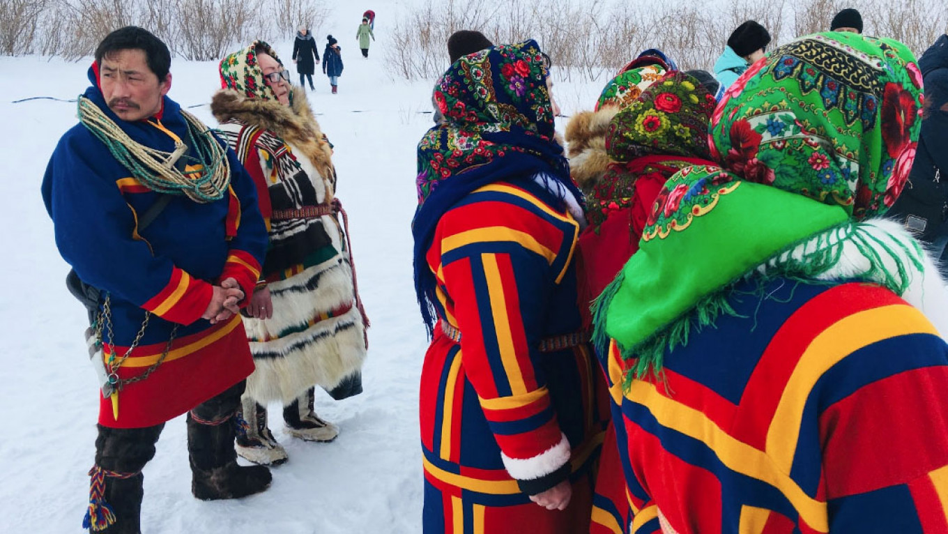 Nenets locals in traditional dress. MT