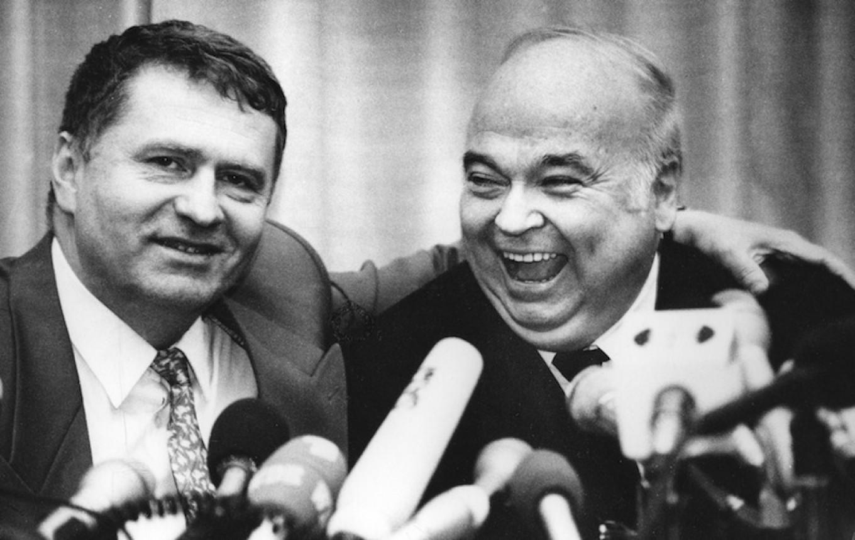 Zhirinovsky has plenty of unsavory friends. German neo-fascist Gerhard Frei embraces Zhirinovsky in 1994. Mikhail Metzel / For MT