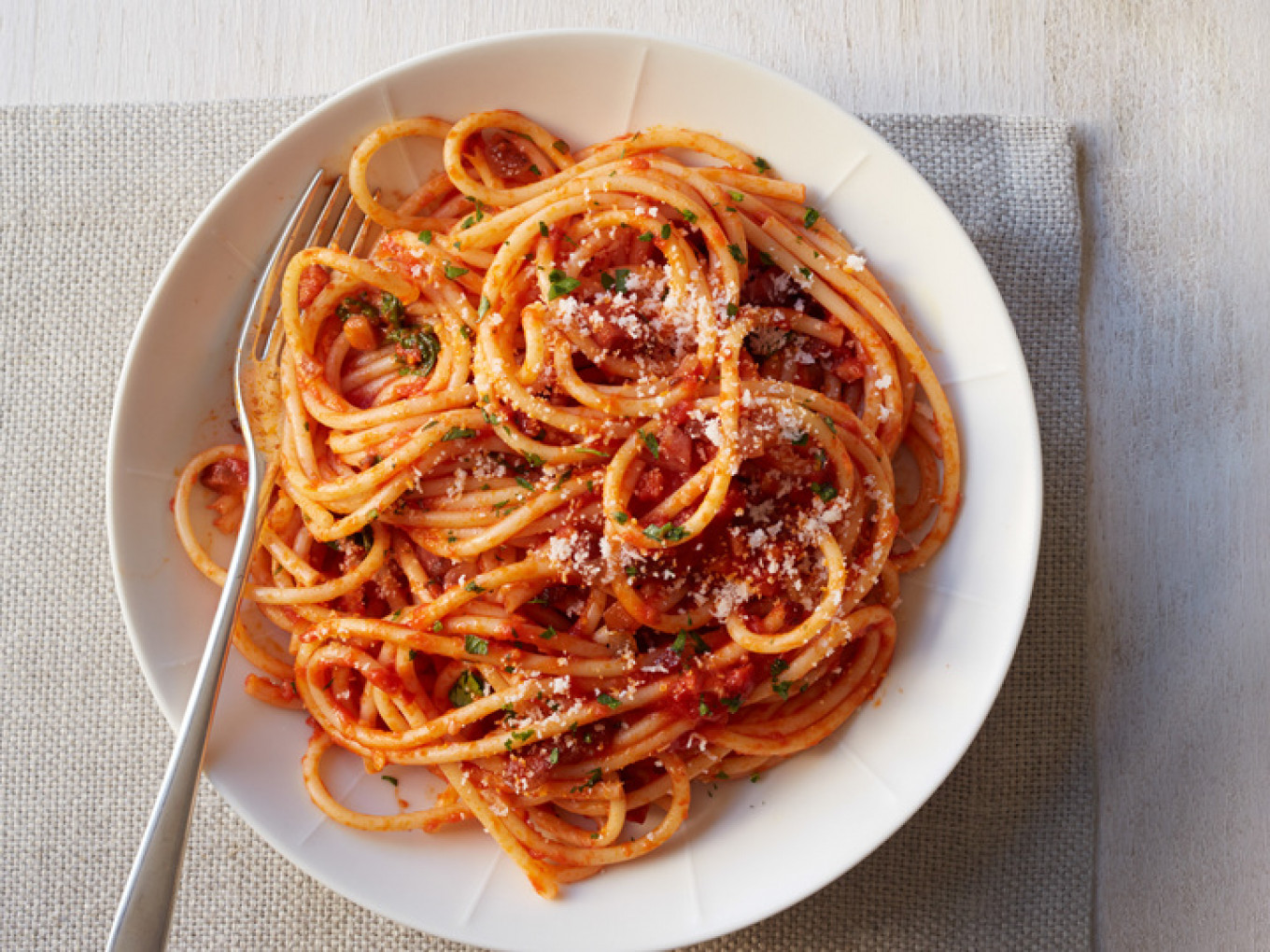 Pasta with sauce Amatriciana, a specialty of one of the cities destroyed by an earthquake on Aug. 24.				 				foodnetwork
