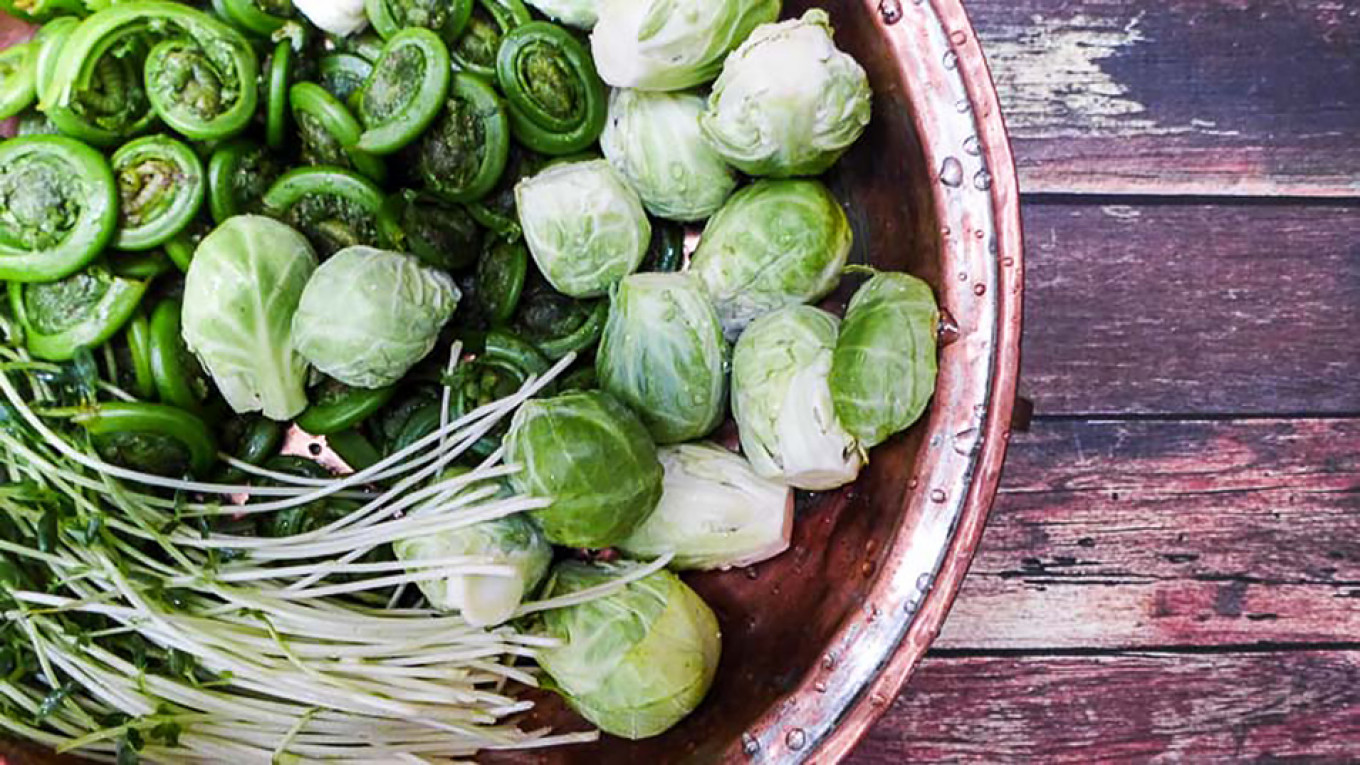 Fiddleheads, Brussels sprouts and pea shoots Jennifer Eremeeva / MT